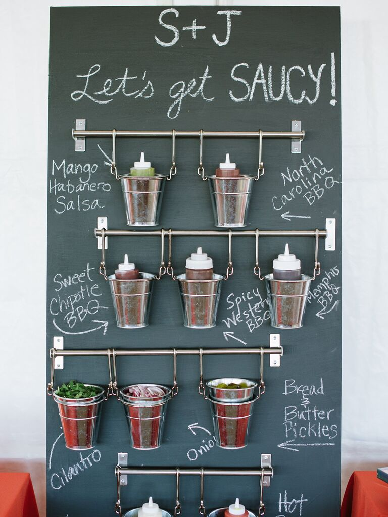 Southern wedding food idea with a BBQ sauce station