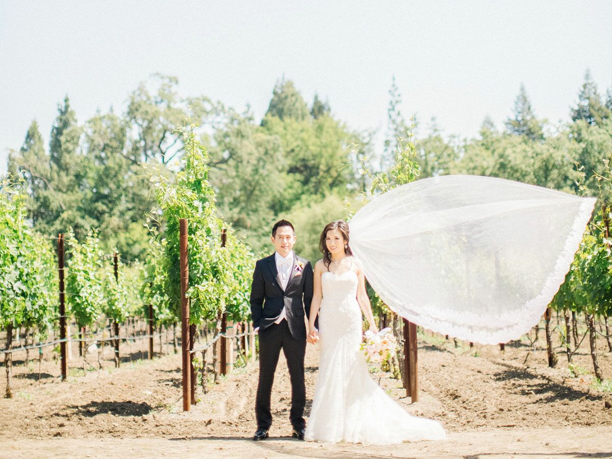 Modern bride and groom couple's photo