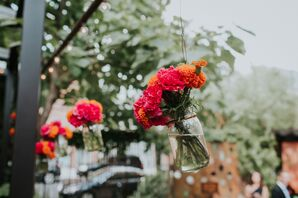 Hanging Mason Jars with Colorful Carnations