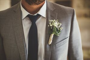 Succulent and Baby's Breath Boutonniere