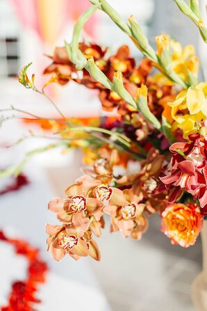 Orange Orchid Centerpieces