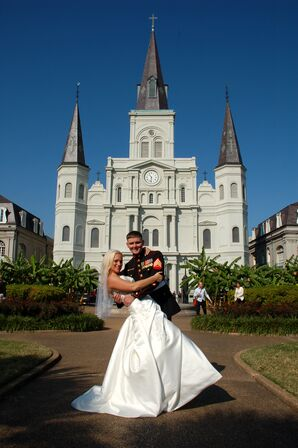 Marine Corps Bride and Groom at St. Louis Cathedral