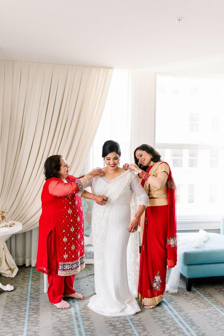 Hindu Bride Getting Ready with Long-Sleeved Wedding Dress