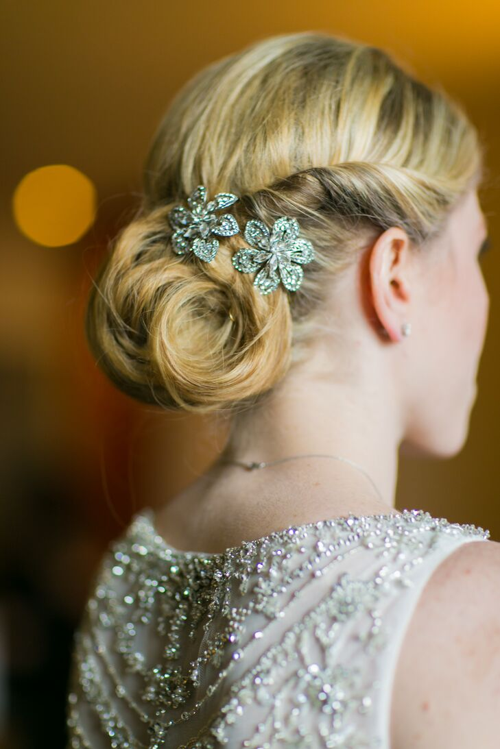 Curled Chignon Undo With Jeweled Flower Pin