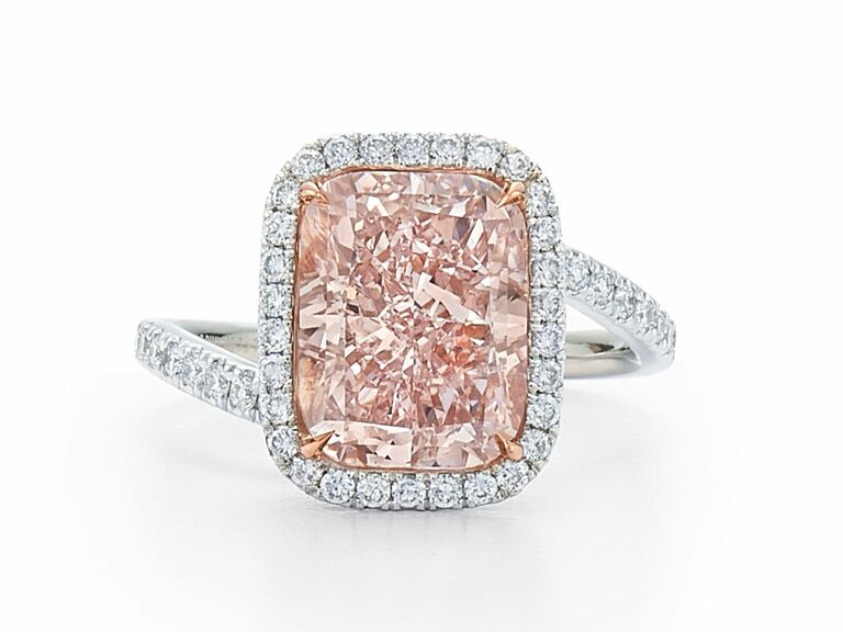 Kwiat radiant pink diamond engagement ring