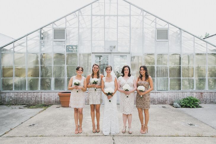 "Nicole suggested a neutral color palette for her bridesmaids and let them pick their own dresses. ""They were able to feel beautiful in something they actually like, and it allowed them to stick to their own budget,"" says Nicole. ""If you trust your bridesmaids, then everyone's a winner!"""