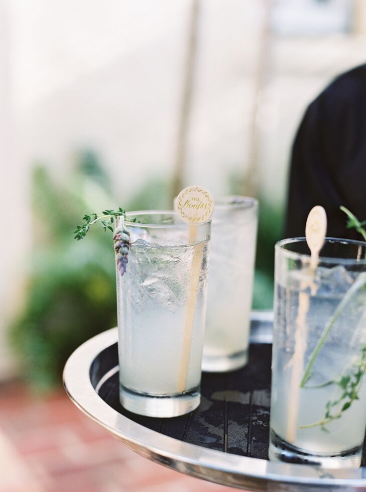 Cocktails Garnished With Lavender, Thyme and Personalized Stir Sticks