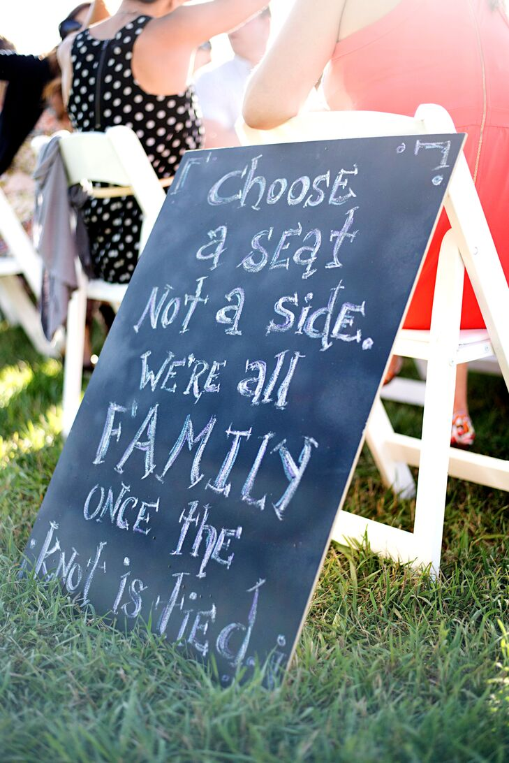 Scott and Sara asked family members to help create the chalkboard signs displayed throughout the ceremony and reception.