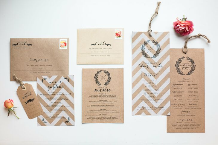 The bride custom-designed her wedding invitation suite; a print which she carried over to the menus and programs.