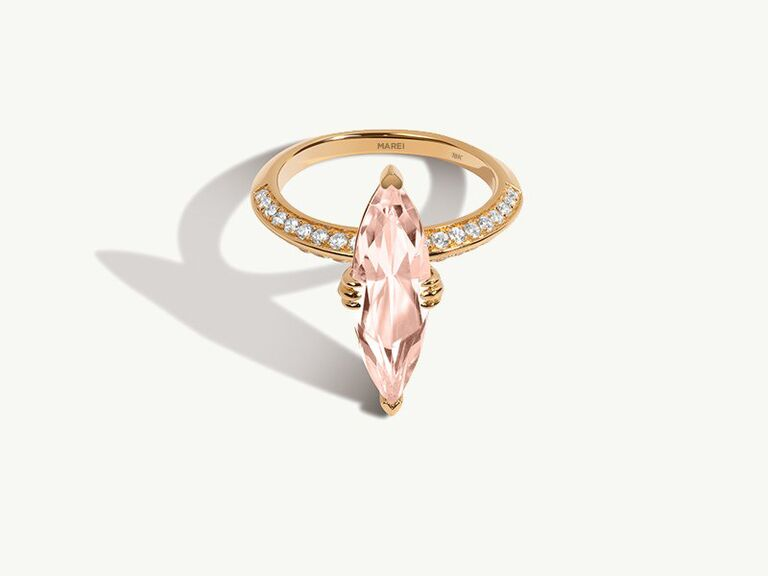 Marquise-cut morganite and diamond engagement ring