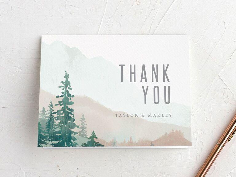mountain themed wedding thank-you card