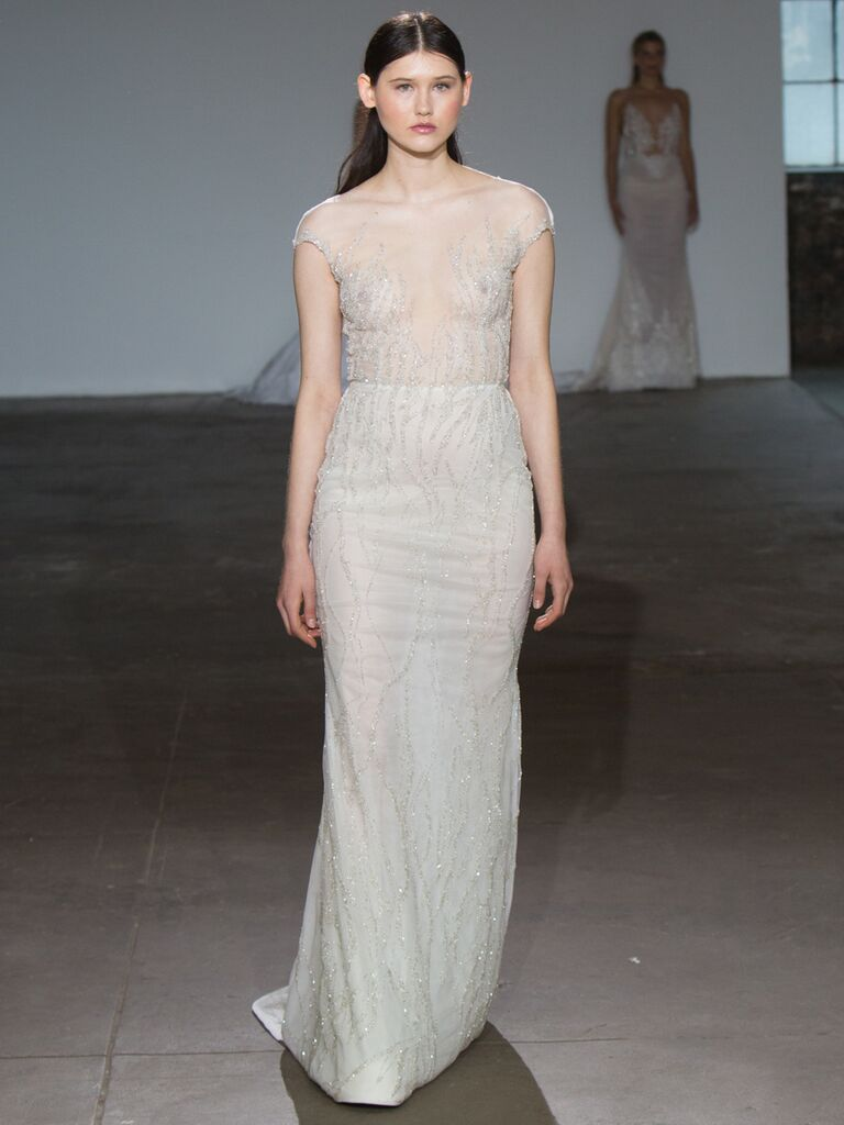 Adam Zohar Spring 2019 Collection sheer sheath wedding dress with natural waistline and delicate beading