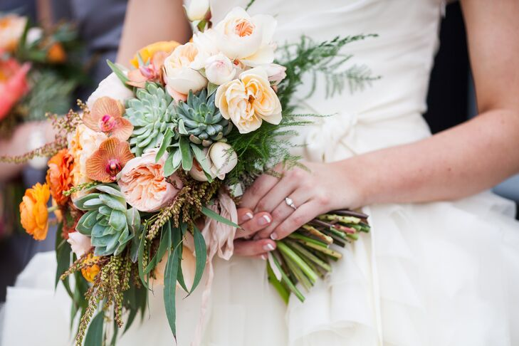 Munster Rose created Molly's gorgeous bridal bouquet. It included garden roses, peonies, poppies, succulents and orchids (Molly's favorite). It combined all the wedding colors—shades of orange, green and white—and kept with Molly's textured look from her Vera Wang dress.
