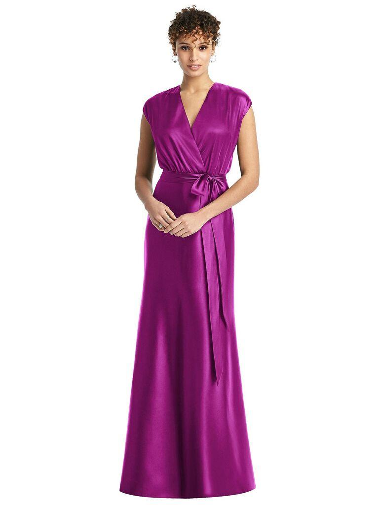 Bright plum bridesmaid dress