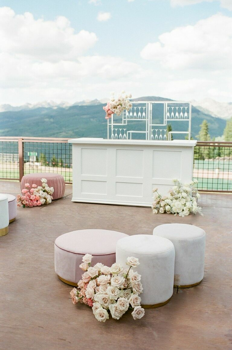 Mountain-view cocktail hour setup