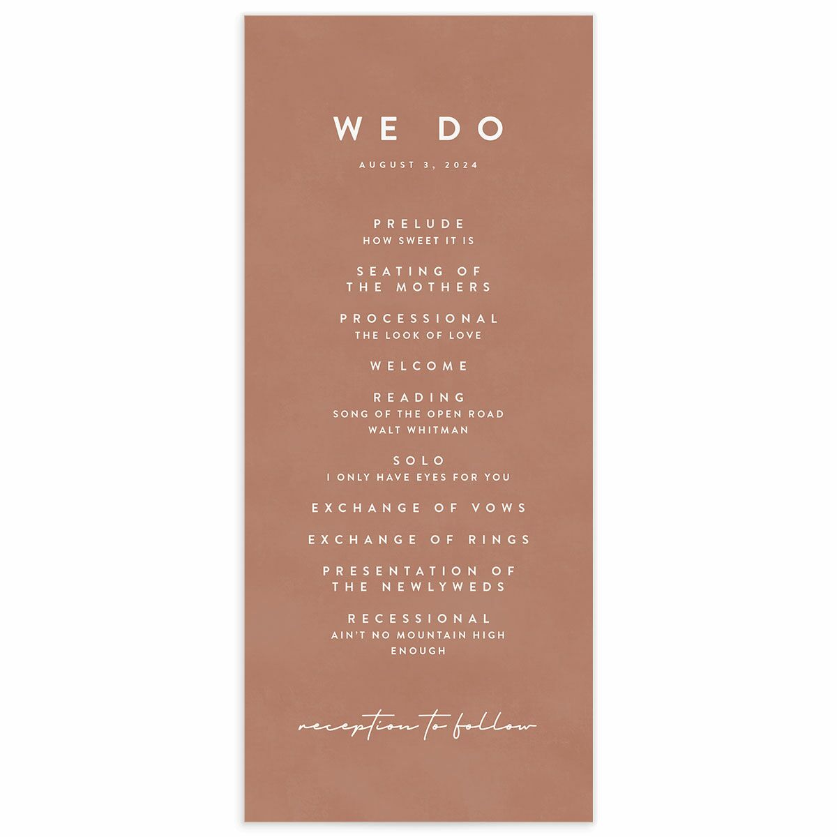 A Wedding Program from the Abstract Hills Collection