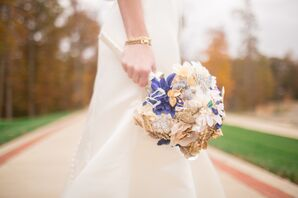 Bridal Bouquet Consisting of Symbolic Keepsake Brooches