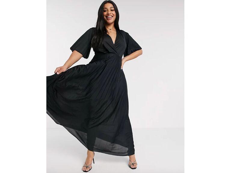 Kimono-inspired black wrap dress with pleated skirt