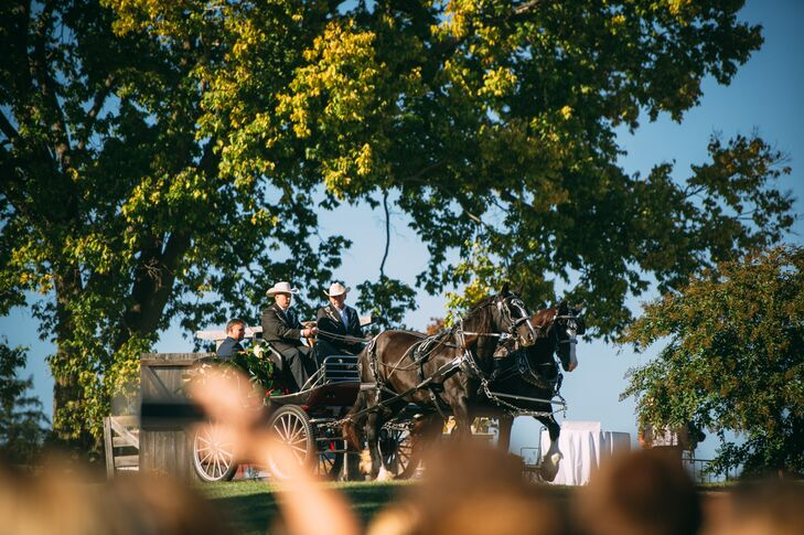 Molly entered her wedding on a horse-drawn carriage fit for a queen.