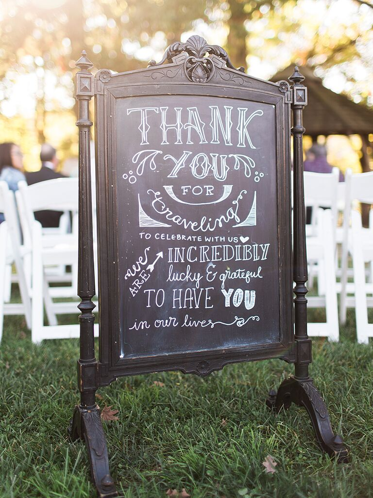 18 unique chalkboard wedding sign ideas handlettered wedding chalkboard thank you sign junglespirit Choice Image