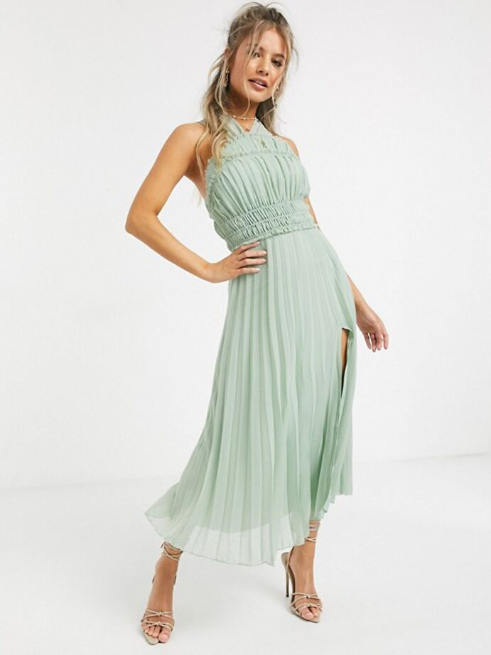 Mint green maxi dress with halter neckline and pleated skirt