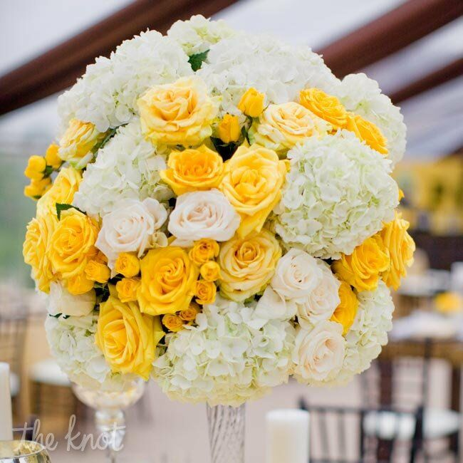 Yellow and White Centerpieces