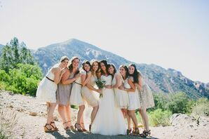 Neutral Short Lace Bridesmaids Dresses