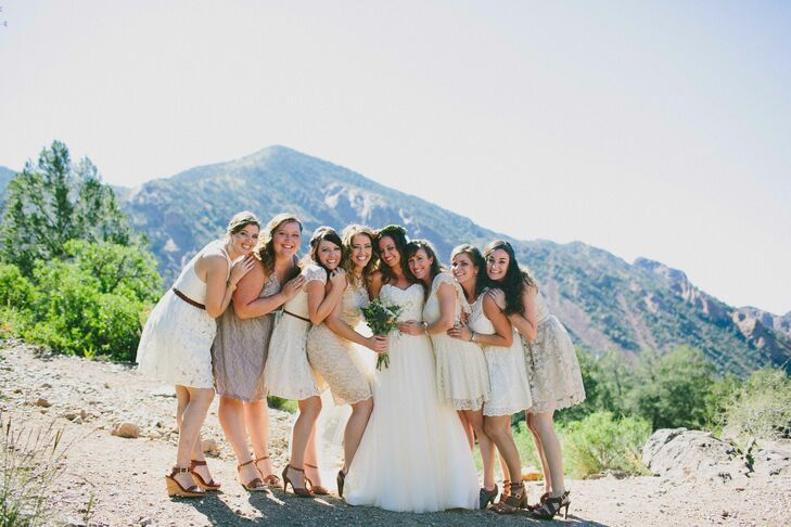 Anna's bridesmaids all wore short, neutral lace dresses with brown shoes. They fit right into the desert palette and Texas feel of the wedding, and all looked beautiful.