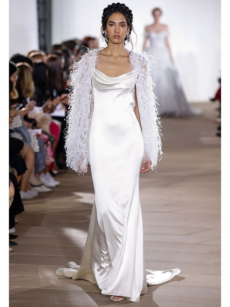 Ines Di Santo wedding dress satin cowl neck dress