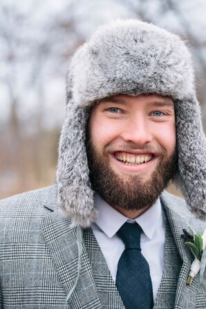 Groom Wearing a Fur Hat