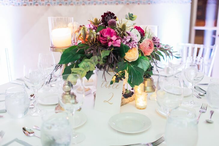 Colorful Textured Wildflower and Ranunculus Centerpiece