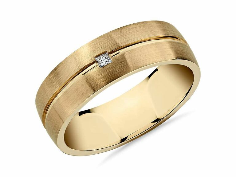 gold engagement ring for men with small diamond