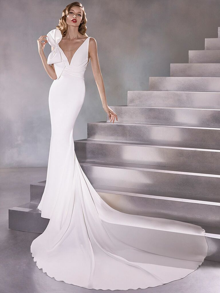 Atelier Provonias wedding dress mermaid gown with bow on shoulder