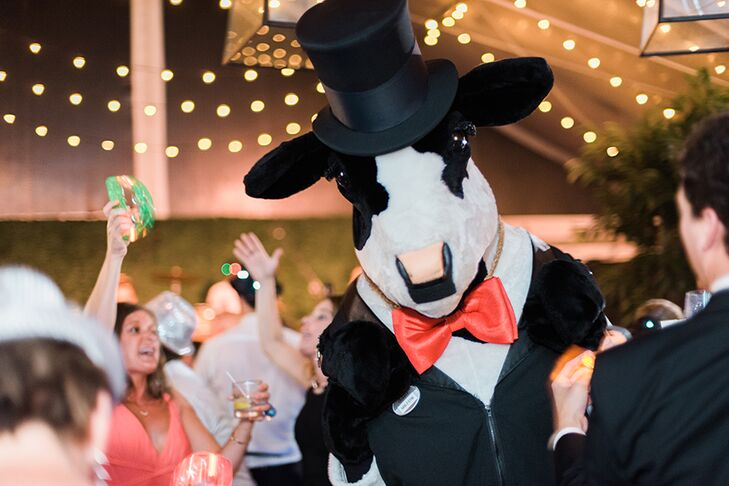 Caroline and Gil, both fans of Chick-fil-A, served chicken sandwiches as a late-night snack and had Chick-fil-A show up to deliver the tasty treats and join the dance party.