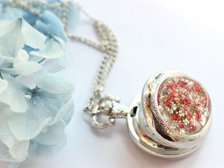 Locket watch 15th anniversary gift with pressed red flowers