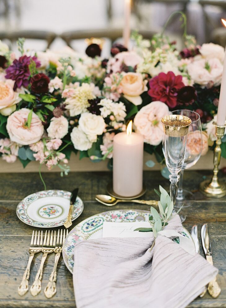 Formal China with Pink Linens and Herb Sprigs