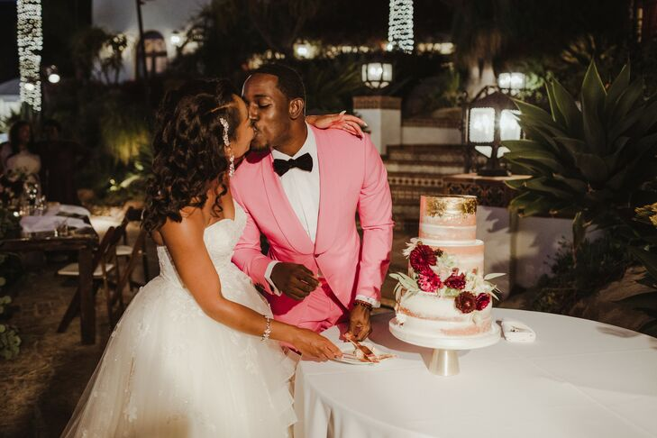 Cake Cutting with Modern Bride and Groom in Pink Suit
