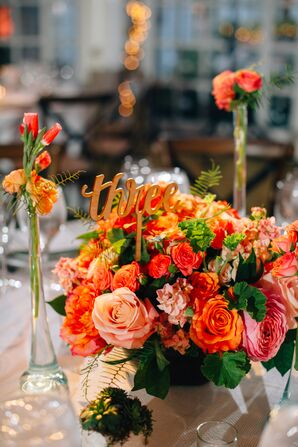 Gold Cursive Table Numbers in Vivid Pink and Coral Bouquets