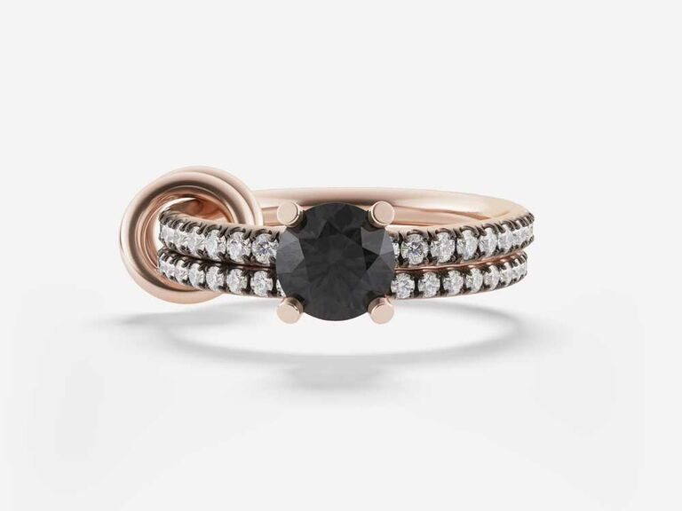 Solitaire black diamond engagement ring with linked double band