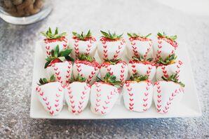 White-Chocolate Strawberries With Baseball Stitching