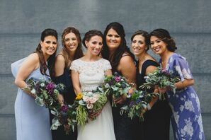 Bridesmaids in Varying Blue Dresses