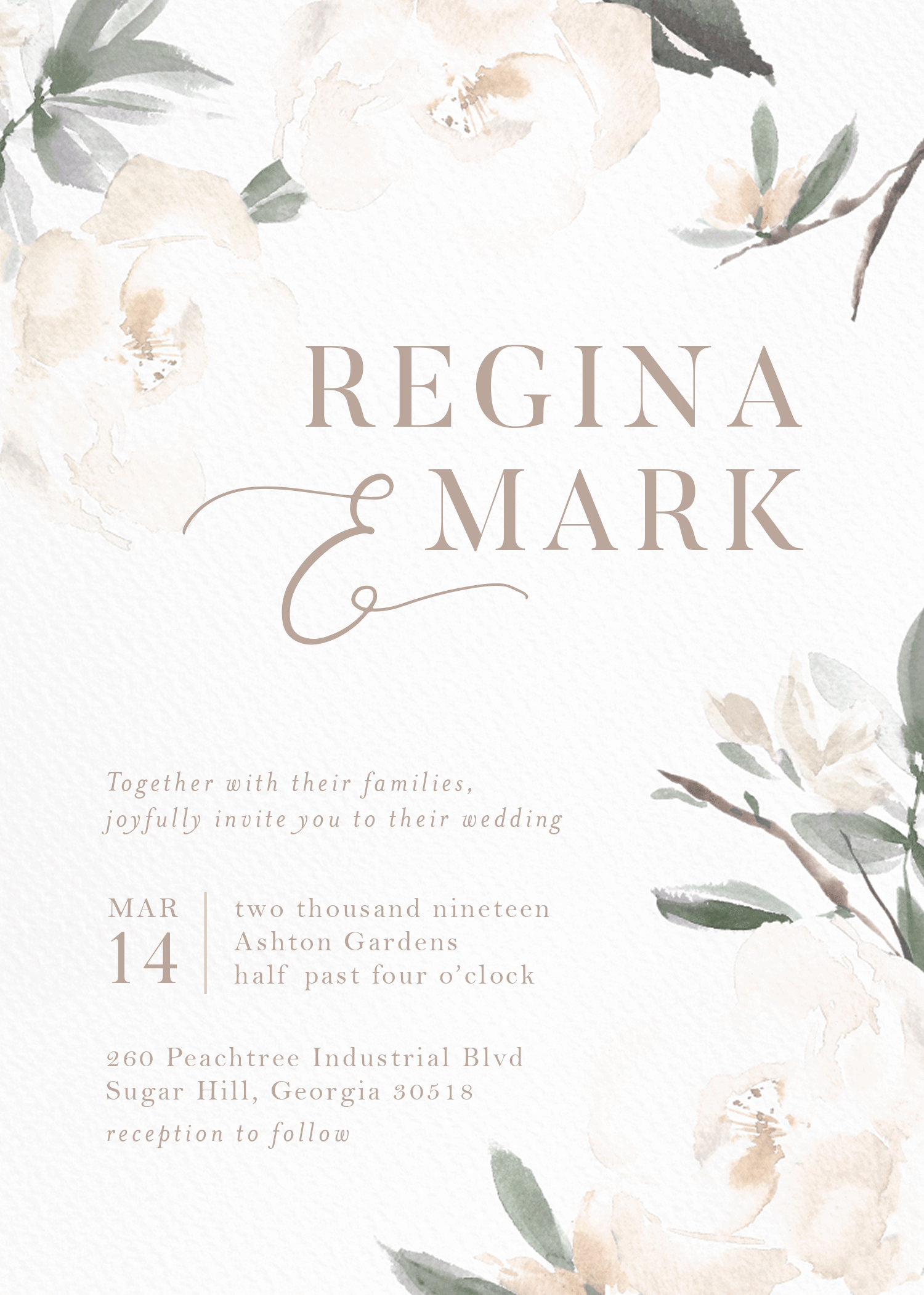 Customizable wedding invitation featuring a neutral background bordered by oversized watercolor florals.