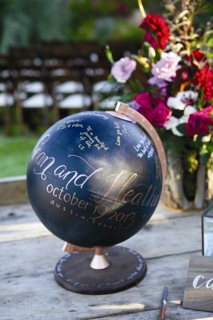 Instead of a traditional guest book, guests were asked to sign a globe the couple painted black.