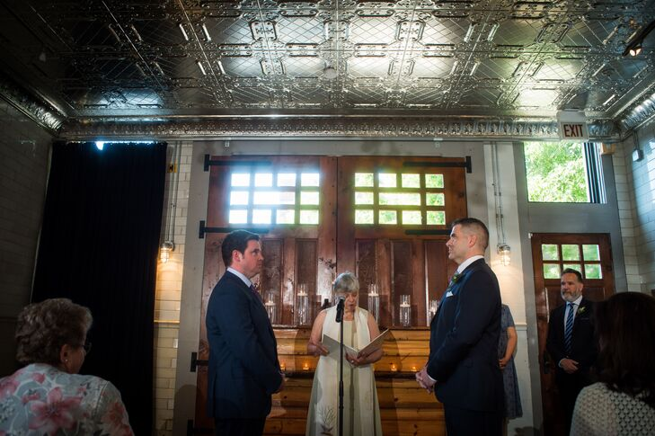 James and Stephen were married in the loft at Firehouse Chicago in Chicago, Illinois.