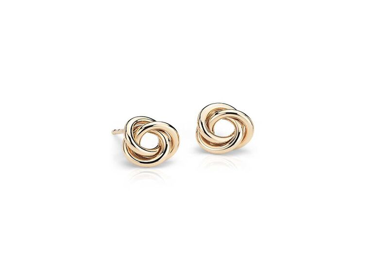 Blue Nile petite love knot earrings in 14k Yellow Gold