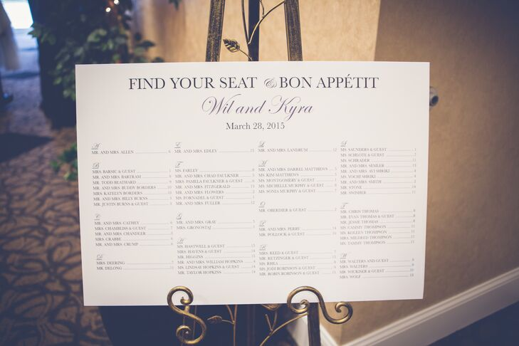 Simple Black and White Seating Chart