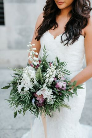 Eclectic Bouquet of Greenery, Fern, Protea and Hyacinth