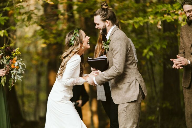 Fall Wedding Ceremony in Georgia Backyard