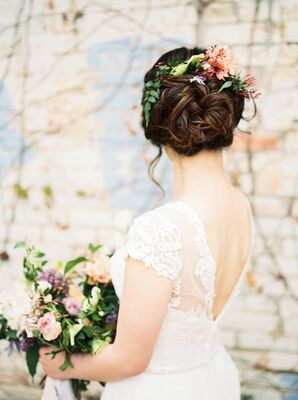 Curled Updo with Fresh Flowers