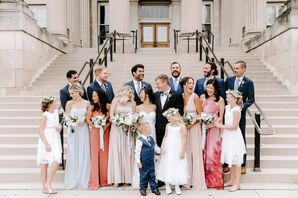 Classic Groomsmen and Bridesmaids with Mismatched Dresses